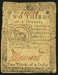 Continental Currency February 17, 1776 $2/3 Fine