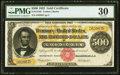 Large Size:Gold Certificates, Fr. 1216b $500 1882 Gold Certificate PMG Very Fine 30.. ...