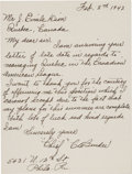 "Baseball Collectibles:Others, 1942 Charles Albert ""Chief"" Bender Handwritten Signed Letter. ..."