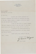 Baseball Collectibles:Others, Circa 1950 Honus Wagner Signed Letter with Babe Ruth Content. ...
