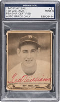 Autographs:Sports Cards, Signed 1940 Play Ball Ted Williams #27 PSA/DNA Mint 9. ...