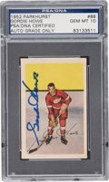 Autographs:Sports Cards, Signed 1952 Parkhurst Gordie Howe #88 PSA/DNA Gem MT 10. ...