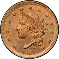 1839 1C Silly Head, N-9, R.2, MS64+ Brown NGC. CAC....(PCGS# 37234)