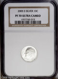 Proof Roosevelt Dimes: , 2005-S 10C Silver PR70 Deep Cameo NGC. PCGS Population (58/0).(#95311)...
