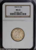 Seated Quarters: , 1860-O 25C MS63 NGC. The strike is normal for the issue with someof the stars softly struck and the surfaces exhibit light...