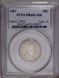 Proof Barber Quarters: , 1907 25C PR64 Cameo PCGS. PCGS Population (5/25). NGC Census: (5/27). (#85693)...