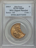 Errors, 2000-P SAC$1 Sacagawea Dollar -- 30% Clipped Planchet -- MS66 PCGS....