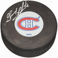 Hockey Collectibles:Others, Guy LaPointe Signed Montreal Canadiens Hockey Puck. ...