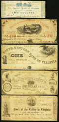 Obsoletes By State:Virginia, VA - Lot of 9 Virginia Civil War Period Emergency Series Banknotes.. ... (Total: 9 notes)