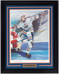 """Hockey Collectibles:Others, 1983 Wayne Gretzky Signed """"The Kick"""" Steve Csorba Lithograph...."""