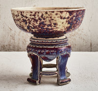 Ruskin Pottery (English, founded 1898) Altar Bowl and Stand, 1926 Flambe glazed porcelain 10 inch