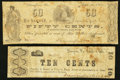 Obsoletes By State:Virginia, VA - Lot of 2 Dunnigton & Cockrell, Dumfries Scrip Note Rarities.. ... (Total: 2 notes)