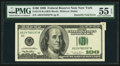 Error Notes:Attached Tabs, Butterfly Fold Error Fr. 2175-B $100 1996 Federal Reserve Note. PMG About Uncirculated 55 EPQ.. ...