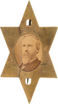 Political:Ferrotypes / Photo Badges (pre-1896), Rutherford B. Hayes: Large Star Cardboard Badge....