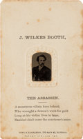 Political:Ferrotypes / Photo Badges (pre-1896), John Wilkes Booth: Tintype on CDV Mount....