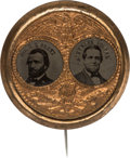 Political:Ferrotypes / Photo Badges (pre-1896), Grant & Colfax: Porthole Ferrotype Jugate Badge....