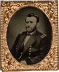 Political:Ferrotypes / Photo Badges (pre-1896), Ulysses S. Grant: Highly Unusual Large Gem Ferrotype Badge....