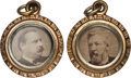 Political:Ferrotypes / Photo Badges (pre-1896), Blaine & Logan and Cleveland & Hendricks: Two Charms inSuperb Condition....