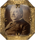 Political:Ferrotypes / Photo Badges (pre-1896), Grover Cleveland: Most Unusual and Striking Photo-under-GlassBrooch....