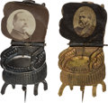 Political:Ferrotypes / Photo Badges (pre-1896), Harrison and Cleveland: A Fine Pair of Mechanical ChairStickpins....