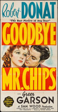 "Movie Posters:Drama, Goodbye, Mr. Chips (MGM, 1939). Three Sheet (41"" X 79""). Drama.. ..."