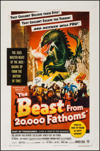 "The Beast from 20,000 Fathoms (Warner Brothers, 1953). One Sheet (27"" X 41""). Science Fiction"