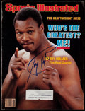 Boxing Collectibles:Autographs, 1985 Larry Holmes Signed Sports Illustrated. ...