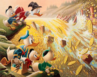 Carl Barks Dam Disaster at Money Lake Signed Limited Edition Lithograph Print #174/345 (Another Rainbow, 1986)