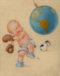 Mainstream Illustration, Charles Twelvetrees (American, 1888-1948). Boxing the World.Gouache on board. 29 x 24 in.. Signed lower right. ...