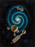 Mainstream Illustration, Michael Goodwin (American, 20th Century). The Far Station.Acrylic on board. 10.5 x 7.75 in.. Signed and titled on the r...