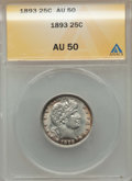 1893 25C AU50 ANACS. NGC Census: (3/296). PCGS Population: (13/434). CDN: $100 Whsle. Bid for problem-free NGC/PCGS AU50...