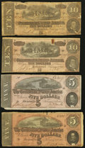 Confederate Notes:Group Lots, T69 $5 1864 Two Examples;. T68 $10 1864 Two Examples.. ... (Total:4 notes)