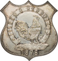 Political:Ferrotypes / Photo Badges (pre-1896), Samuel J. Tilden: A Most Unusual Large 1876 Shell Pin....