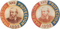 Political:Ferrotypes / Photo Badges (pre-1896), Benjamin Harrison: Two Colorful Litho Tin Pinbacks. ...