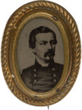 Political:Ferrotypes / Photo Badges (pre-1896), George McClellan: Unlisted Oval Ferrotype Badge....
