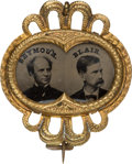 Political:Ferrotypes / Photo Badges (pre-1896), Seymour & Blair: Choice Ferrotype Jugate....