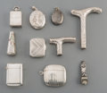 Silver Holloware, Continental:Holloware, Ten Various Silver Novelty Items, early 20th century and later.Marks: (various). 3-5/8 inches high (9.2 cm) (tallest, cane ...(Total: 10 Items)
