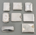 Silver Holloware, Continental:Holloware, Eight Various Silver Cigarette and Eyeglass Cases, late 19th-20thcenturies. Marks: (various). 4-3/8 inches high x 3 inches ...(Total: 8 Items)