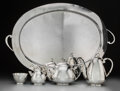 Silver Holloware, Mexican:Holloware, A Five-Piece Juventino Lopez Reyes Modernist Mexican Silver Tea and Coffee Service, Mexico City, circa 1960. Marks: STERLI... (Total: 5 Items)