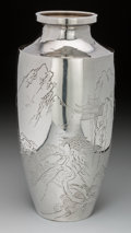 Asian:Japanese, A Japanese Silver Vase with Landscape Scenery, Meiji Period, circa1868-1912. Marks: (jungin mark), (signature). 11-7/8 inch...