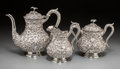 Silver Holloware, American:Coffee Pots, A Three-Piece Baltimore Silver Repoussé Coffee Service, late 19thcentury. Marks: STERLING, JAMES R. ARMIGER CO.. 7-3/4 ...(Total: 3 Items)