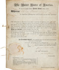 Autographs:U.S. Presidents, James Monroe and John Quincy Adams Patent Signed...