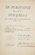 Military & Patriotic:Revolutionary War, Benjamin Lincoln and Elias Boudinot Signed Brevet Major Appointment....