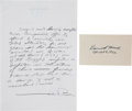 Autographs:Statesmen, Learned Hand Signature on a Card and Melvin Belli AutographStatement Signed.... (Total: 2 Items)