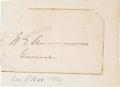 Autographs:Military Figures, William T. Sherman Signature on a Small Card....