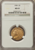 Indian Half Eagles: , 1909 $5 MS63 NGC. NGC Census: (868/451). PCGS Population:(934/547). CDN: $850 Whsle. Bid for problem-free NGC/PCGS MS63.M...