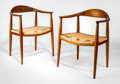 Furniture , Hans J. Wegner (Danish, 1914-2007). Pair of The Chairs, circa 1950, Johannes Hansen. Teak and caning. 30-3/8 x 19-3/4 x ... (Total: 2 Items)