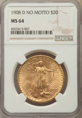 Saint-Gaudens Double Eagles: , 1908-D $20 No Motto MS64 NGC. NGC Census: (612/47). PCGS Population: (1565/294). CDN: $1,600 Whsle. Bid for problem-free NG...