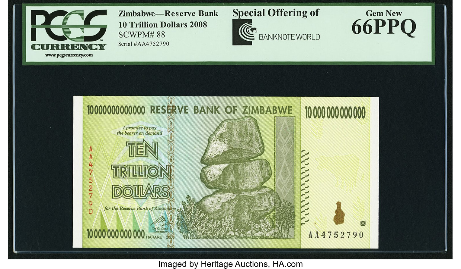 Zimbabwe Reserve Bank of Zimbabwe 10 Trillion Dollars 2008