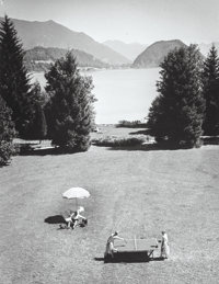 Alfred Eisenstaedt (American, 1898-1995) Emil Jannings and family on vacation, Wolfgangsee, Austria, 19